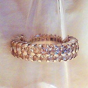 Jewelry - Silver Tone Double Row CZ's Wedding Band
